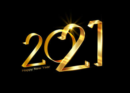 2021 Happy New Year. Holiday vector illustration of golden metallic calligraphic numbers 2021. Luxury 3d sign. Festive poster banner design. Modern lettering composition isolated on black background