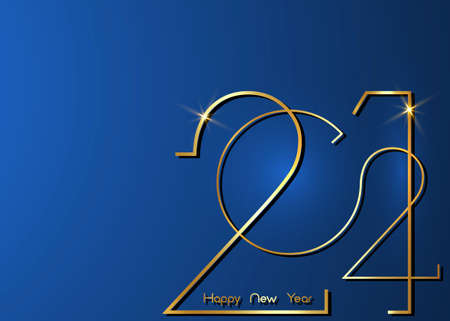 Golden 2021 New Year logo. Holiday greeting card. Vector illustration. Holiday design for greeting card, invitation, calendar, party, gold luxury vip, isolated on blue background