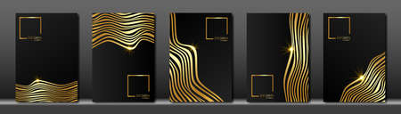 Vector cover for text. Abstract black fluid striped line background. Gold wave strips. Applicable for design cover, presentation, invitation, flyer, annual report, poster and business card, packaging