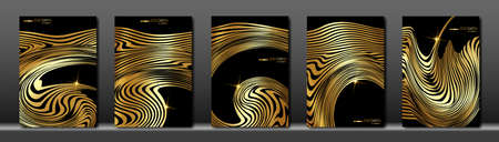 Black cover set. Abstract fluid golden striped line background. Gold wave strips. Applicable for design cover, presentation, invitation, flyer, annual report, poster and business card, packaging