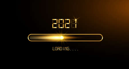 Gold Progress bar on black Download 2021 New Year's Eve. Loading animation screen almost reaching 2021, golden digital clock style. Creative festive banner with shiny progress bar