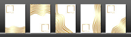Vector cover for text. Abstract white fluid striped line background. Gold wave strips. Applicable for design cover, presentation, invitation, flyer, annual report, poster and business card, packaging