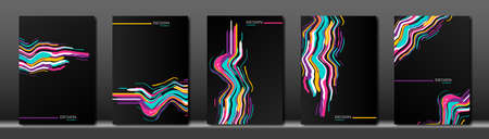 Black cover set. Abstract fluid colorful striped line background. waves strip frames. Applicable for design cover, presentation, invitation, flyer, annual report, poster and business card, packaging