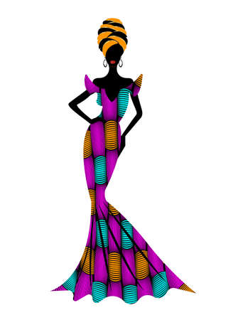 Beautiful African woman in typical afro clothing and headdress ethnic turban, ankara wax print textile for traditional wedding ceremony. Vector isolated on white background
