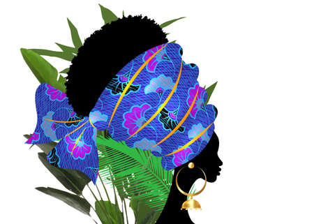 portrait beautiful African woman in traditional turban tribal motif wedding flowers, Kente head wrap African with ethnic earrings, black women Afro curly hair vector isolated on white and palm leaves