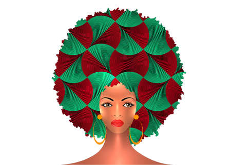 portrait African American Woman dark skin female face with afro curly hair and earrings, vector isolated. Curly hairstyle beauty concept and ethnic traditional Afro turban on white background 向量圖像