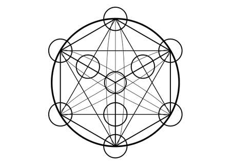 Metatrons Cube, Flower of Life. Sacred geometry, graphic element magic hexagram. Vector isolated Illustration. Mystic icon platonic solids, abstract geometric drawing, typical crop circles on white 向量圖像