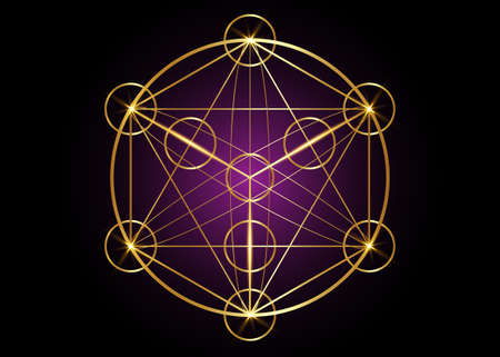 Metatrons Cube, Flower of Life. Sacred geometry, graphic element magic hexagram. Gold Vector isolated. Mystic icon platonic solids, abstract geometric drawing, typical crop circles on black purple 向量圖像