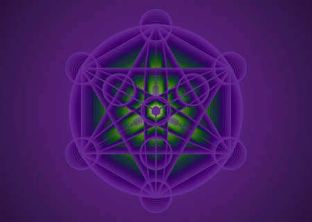 Alchemy occult sign, Metatrons Cube, Flower of Life. Sacred geometry, graphic element magic hexagram. Vector Mystic icon platonic solids, geometric drawing, typical crop circles on purple background