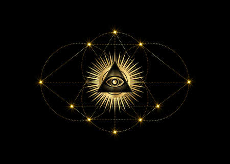 Sacred Masonic symbol Vesica piscis gold Sacred geometry. All Seeing eye, the third eye or The Eye of Providence inside triangle pyramid. Circles and line dots vector illustration isolated on black