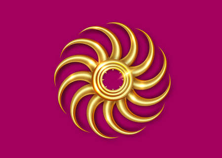Decorative Golden Sun Vintage Art Deco Mirror frame for Living Room Bedrooms. Wall Classic Circular border. Gold Beveled Round Wall in molding a Sun-Ray vector Isolated on purple.