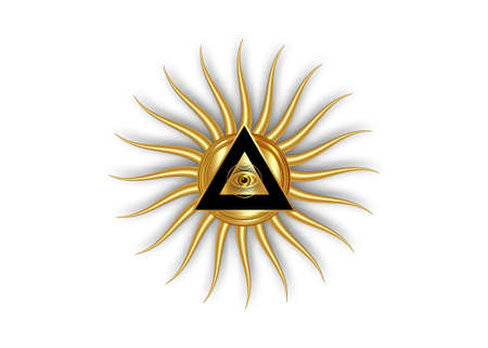 Sacred Masonic symbol. All Seeing eye, the third eye (The Eye of Providence) inside triangle pyramid. New World Order. Gold icon alchemy, religion, spirituality, occultism. Vector isolated or white