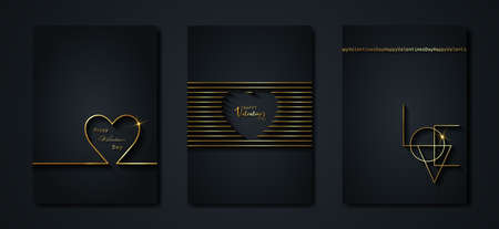 Happy Valentines day vector greeting card set. Gold heart on black background. Golden holiday poster with text, jewels. Concept for Valentines banner, flyer, party invitation, jewelry gift shop