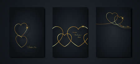 Happy Valentines day vector greeting card set. Gold heart on black background. Golden holiday poster with text, jewels. Concept for Valentines border banner, flyer, party invitation, jewelry gift shop Illusztráció