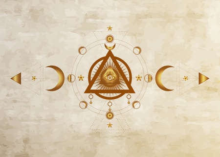 Eye of Providence. Masonic symbol. All seeing eye inside triple moon pagan Wicca moon goddess symbol. Vector old paper. Tattoo, astrology, alchemy, boho and magic symbol. Circle of a moon phase