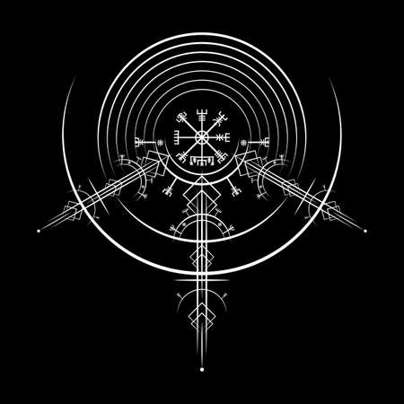 Vegvisir magic navigation compass ancient. The Vikings used many symbols in accordance to Norse mythology, widely used in Viking society. Round white Logo icon Wiccan esoteric sign isolated on black