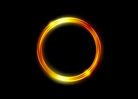 magic gold circle frame. Fire Hole. Glowing fire ring trace. Golden swirl trail effect on black background. Bright luxury round ellipse line with flying flash lights. Vector Isolated Ilustração
