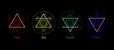 four elements icons, line, triangle and round symbols set template. Air, fire, water, earth symbol. Colorful Pictograph. Alchemy symbols isolated on black background. Magic vector decorative elements