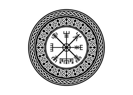 Viking Symbol Vegvisir Futhark Rune Magical Navigator Compass Meaning Art Board Print. Protective runic talisman for travelers. Compass for the wandering. Vector isolated on white background