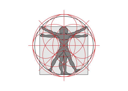 Sacred Geometry symbol. The Vitruvian man, vector isolated on white background
