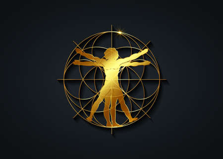 Sacred Geometry gold symbol. The Vitruvian man. Golden artwork sign, vector isolated on black background 向量圖像
