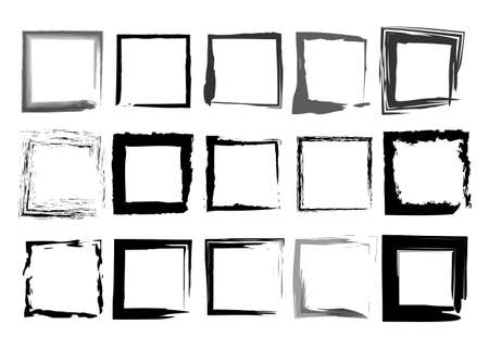 Black frames set, square shaped old grungy border in paint brush stroke style, vector collection ornament isolated on white background
