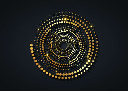 Gold Halftone dots in circle form. round logo. vector dotted frame. Spiral, twirl design concentric circles geometric element, abstract representation of technological eye concept, isolated on black 向量圖像