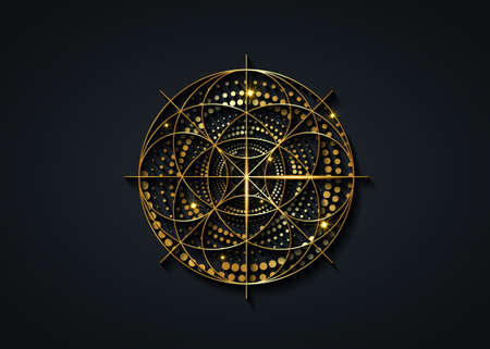 Sacred Geometry gold symbol, Seed of life sign. Geometric mystic luxury mandala of alchemy esoteric Flower of Life. Golden dotted circles vector divine meditative amulet isolated on black background