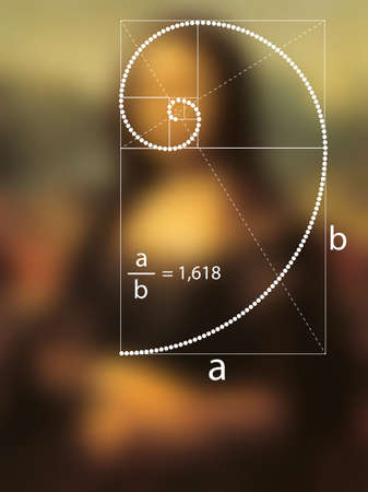Golden Ratio in dotted line in Renaissance painting. Fibonacci Sequence geometric spiral made from quarter circles. vector isolated on abstract background