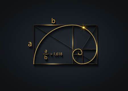 Golden ratio. Fibonacci Sequence number, golden section, divine proportion and shiny gold spiral, geometric spiral made from quarter circles, vector isolated on black background 向量圖像