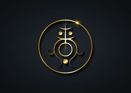 Sigil for clearing the root and sacral chakra. Sacred Geometry. A gold stylized image of a magic symbol. Can be used in graphic design or tattoo as well as logo, vector isolated on black background