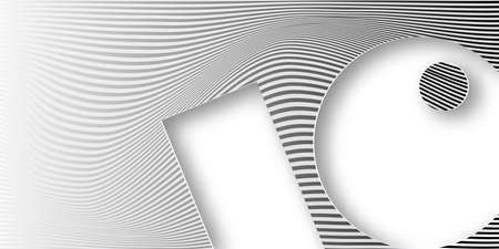 banner Abstract wave striped geometric white and gray color gradient background. Wavy lines in paper cutting style with copy space for your text, minimal monochromatic modern vector illustration 向量圖像