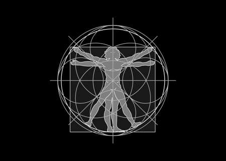 Sacred Geometry symbol. The Vitruvian man. vector isolated on black background