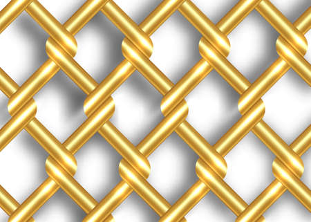golden metal wire fence template. Gold chains intertwining and overlapping, vector isolated on white background 向量圖像