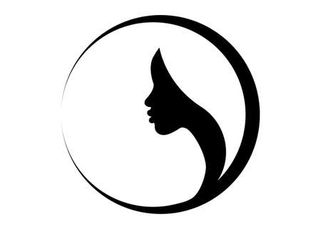 logo round design African american woman face profile. Women profile silhouette on the white background. Vector illustration isolated 向量圖像
