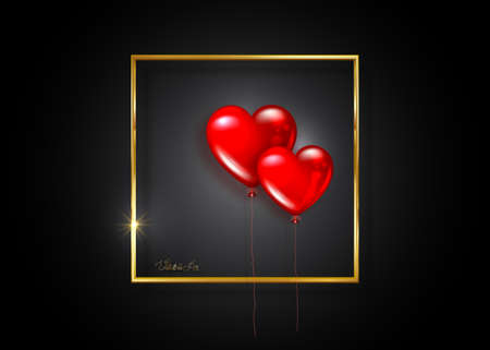 glossy red balloons heart shape on gold frame, vector isolated on black background. Valentines day holiday, wedding or romantic dating symbol. Birthday, anniversary party celebration, surprise sign