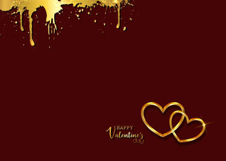 Happy Valentines day vector greeting card. Gold hearts on dark red background. Golden holiday poster with text, jewels. Concept for Valentines banner, flyer, party invitation, jewelry gift shop
