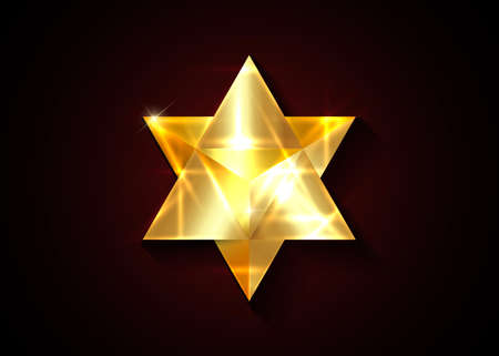 Sacred geometry. 3D solid gold Merkaba thin line geometric triangle shape. Esoteric or spiritual symbol. Golden vector isolated on dark red background