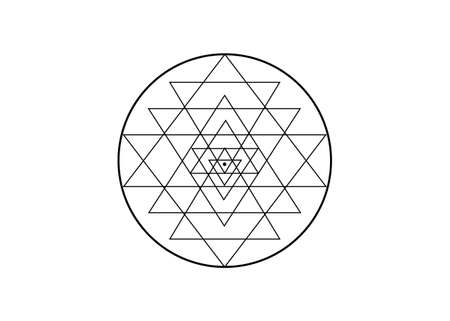 Sri Yantra, Sacred geometry, symbol of Hindu tantra formed by nine interlocking triangles that radiate out from the central point. Alchemy Mandala line art sign, vector isolated on white background