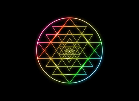 Sri Yantra, Sacred geometry, colors of chakras symbol of Hindu tantra formed by nine interlocking triangles that radiate out from the central point. Alchemy Mandala line art sign, vector isolated