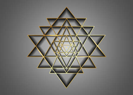 Sri Yantra, Gold Sacred geometry, symbol of Hindu tantra formed by nine interlocking triangles that radiate out from the central point. Alchemy Mandala line art sign vector isolated on gray background