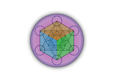 3D Metatrons Cube, Colorful Flower of Life. Sacred geometry, graphic element Vector isolated Illustration or white background. Mystic icon platonic solids, abstract round geometric drawing Illustration
