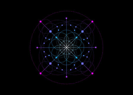Sacred Geometry, colorful Seed of life symbol. Logo icon Geometric mystic mandala of alchemy esoteric Flower of Life. Vector neon line art tattoo divine meditative amulet isolated on black background Illustration