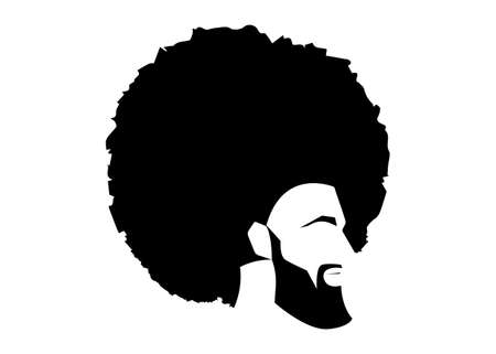 African black man portrait with afro curly design, Barber shop and hairstyle. Healthy sporty young black man with beard, mustache and sideburns. Logo icon isolated avatar on white background