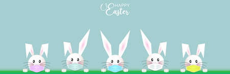 Bunny Easter set, white rabbit Wear a protective colorful face mask against covid-19. Coronavirus alert for Happy Easter card, banner, invitation, poster, stay home. Vector isolated on blue background