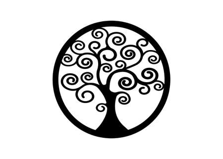 Sacred Tree, round tree of life icon, natural logo and black tree ecology illustration symbol sign vector design isolated on white background, abstract blossoming swirl tree