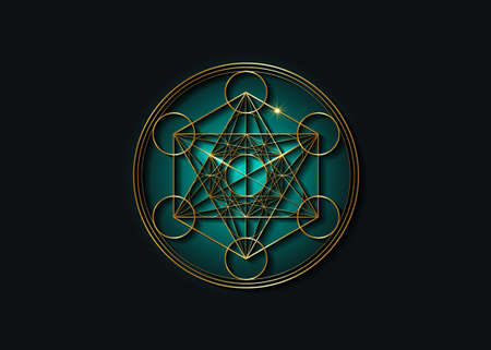 Metatron's Cube, Flower of Life. Gold Sacred geometry. Mystic golden icon platonic solids Merkabah, abstract geometric drawing, crop circles sign. Graphic logo element Vector isolated on black
