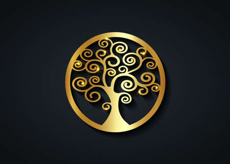 Sacred Tree, gold round tree of life icon, natural logo and black tree ecology illustration symbol sign vector design isolated on black background, abstract golden luxury blossoming swirl tree