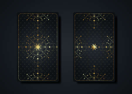 Set magical tarot cards, gold magic occult sacred geometry sign, esoteric boho spiritual symbols, Flower of Life. Luxury Seed of life sacred mandala. Vector collection isolated on black background Illustration