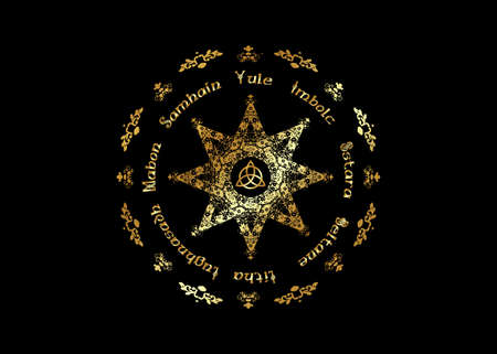 Gold Book Of Shadows Wheel Of The Year Modern Paganism Wicca. Wiccan calendar and holidays. Golden Compass with in the middle Triquetra symbol from charmed celtic. Vector isolated on black background Illustration